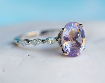Platinum Oval Engagement Ring Lavender Sapphire Engagement Ring Godivah ring One of a kind ring Sapphire Oval Engagement ring Eidelprecious