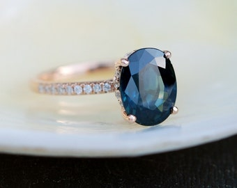Peacock blue green sapphire ring. Sapphire engagement ring. 3.19ct oval diamond  ring 14k Rose gold ring. Engagemet rings by Eidelprecious.