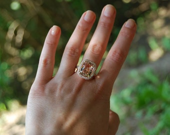 Morganite ring rose gold diamond engagement ring. Cocktail peach morganite 5ct diamond ring