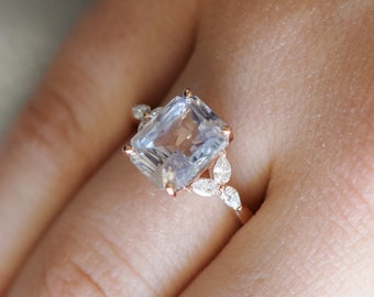 White sapphire engagement ring. color change sapphire ring 4.07ct emerald cut ring Rose gold ring. Trillium Engagement ring Eidelprecious