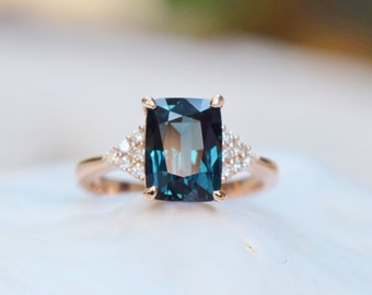 Peacock sapphire engagement ring. 3.15ct emerald cut blue green sapphire ring diamond ring 14k Rose gold ring. Martini by Eidelprecious.