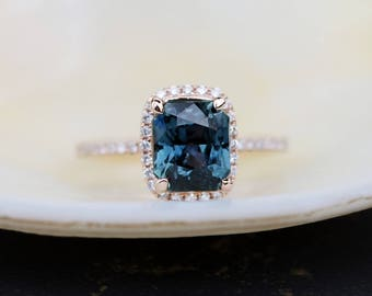 Teal sapphire engagement ring. 1.6ct emerald cut blue green sapphire ring diamond ring 14k Rose gold ring by Eidelprecious