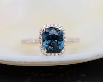 Teal sapphire engagement ring. 3.2ct emerald cut blue green sapphire ring diamond ring 14k Rose gold ring by Eidelprecious
