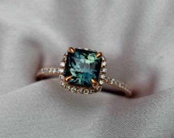Peacock sapphire engagement ring. Square cut radiant blue green sapphire ring diamond ring 14k Rose gold ring by Eidelprecious