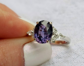 GIA 4ct Purple Sapphire Ring. Platinum sapphire diamond ring. Blue Purple color change Oval Sapphire ring . Engagement ring by Eidelprecious