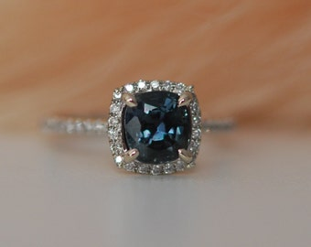 Peacock Blue Sapphire ring. Rose Gold Engagement ring.  2.4ct cushion sapphire diamond ring.