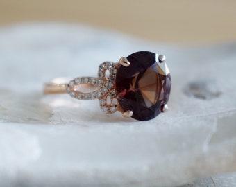 Balance grape/maroon sapphire Engagement Ring. Rose Gold Ring. 14k rose gold diamond ring. Purple Sapphire. Engagement ring by Eidelprecious