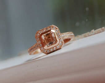 Asscher cut Champagne peach sapphire diamond ring 14k rose gold