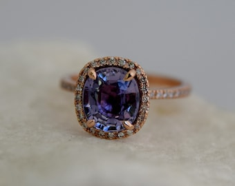 Lavender Blue Sapphire Ring. Cushion Sapphire 2.91ct rose gold ring. Engagement ring by Eidelprecious