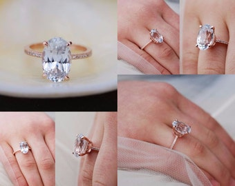 Blake Lively engagement ring in Platinum. White Sapphire Engagement Ring Oval engagement ring. 18k rose gold engagement ring 5.5ct sapphire