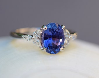 Blue sapphire engagement ring. Violet blue sapphire 2.5ct oval ring diamond ring 14k White gold. Campari Engagement ring by  Eidelprecious.