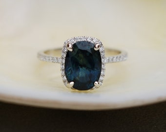 SPECIAL - White Gold Engagement Ring 2Ct Green Blue Sapphire cushion halo engagement ring 14k white gold.