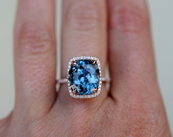 Blue Green sapphire engagement ring. GIA sapphire ring. Peacock sapphire 6.15ct cushion halo diamond ring 14k Rose gold ring Eidelprecious