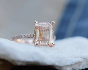 Engagement Ring Rose gold engagement ring Champagne Sapphire ring Blake ring  emerald cut 14k rose gold diamond ring 5.4ct sapphire ring