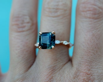 Radiant Blue sapphire engagement ring. Peacock blue sapphire 4.9ct square diamond ring 14k Rose gold ring Godivah ring by Eidelprecious