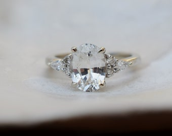 White sapphire engagement ring. 2.07ct oval diamond ring white gold ring. Campari design by Eidelprecious
