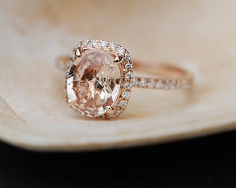 Peach Sapphire Ring Rose Gold Engagement Ring 4.46ct cushion 14k rose gold diamond ring by Eidelprecious