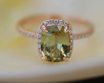 Olive Green sapphire engagement ring. Rose Gold Engagement ring. Green Sapphire ring. 4ct cushion sapphire 14k Rose Gold diamond ring.