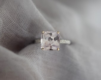 5ct Radiant cut engagement ring Peach Sapphire Engagement Ring square cut 14k white gold diamond ring 5ct asscher cut sapphire Eidelprecious