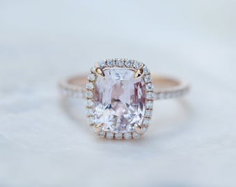 Peach champagne sapphire ring 14k rose gold diamond ring engagement ring 2.8ct Cushion ice peach sapphire. Engagement ring by Eidelprecious