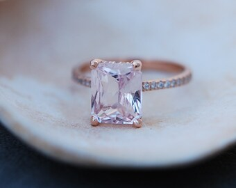 Engagement Ring Rose gold engagement ring Peach Sapphire ring Blake Lively ring  emerald cut 14k rose gold diamond ring 3ct sapphire ring