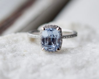 Eidelprecious Ice Blue sapphire ring. 2.4ct light blue color change sapphire cushion diamond ring 14k white gold ring engagement ring