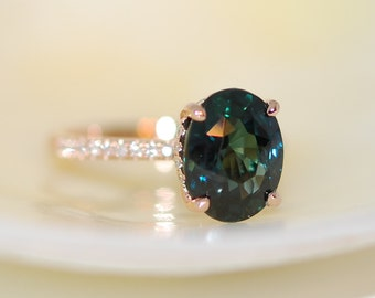 Peacock Green sapphire engagement ring. Peacock sapphire 5ct oval diamond  ring 14k Rose gold ring by Eidelprecious