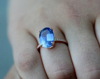 Periwinkle Sapphire Engagement Ring oval cut 14k rose gold diamond ring 4.4ct Blue sapphire ring Blake design by Eidelprecious