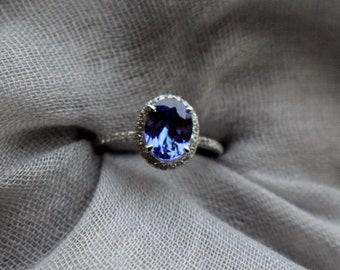 Tanzanite Ring. Rose Gold Engagement Ring 1.4ct Lavender Lilac Tanzanite oval cut engagement ring 14k rose gold.