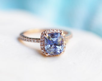 Cornflower blue sapphire ring. 2.6ct Square cushion diamond ring. 14k rose gold ring engagement ring by Eidelprecious.