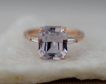 Engagement Ring Rose gold engagement ring 4.7ct Moody Sapphire ring emerald cut 14k RG diamond ring Eidelprecious Classic engagement ring