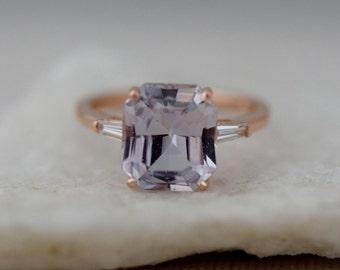 Engagement Ring Rose gold engagement ring 4.7ct Moody Sapphire ring emerald cut 14k RG diamond ring Eidelprecious Classic engagement ring