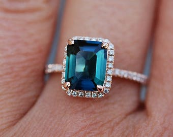 Peacock sapphire engagement ring. 3.2ct emerald cut blue green sapphire ring diamond ring 14k Rose gold ring by Eidelprecious.