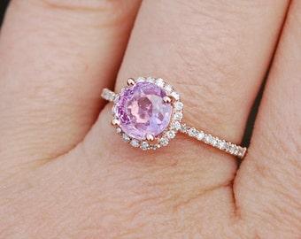 Rose Gold Engagement Ring 1.53ct round Peach Champagne Sapphire Ring 14k Rose Gold. Engagement ring by Eidelprecious