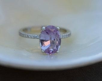 Lavender blush sapphire ring engagement ring 2.58ct oval cut lavender pink sapphire ring 14k white gold diamond ring by Eidelprecious