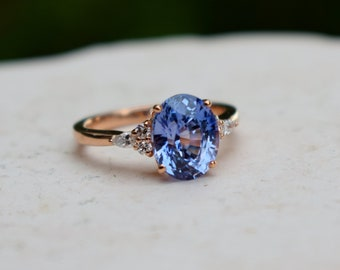 Endless Summer Sapphire ring. Oval blue sapphire ring. Rose gold engagement ring. Blue violet sapphire ring. Campari ring by Eidelprecious