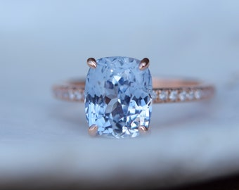 Rose gold engagement ring. Blake ring Cushion White to Ice blue Sapphire Engagement Ring cushion cut sapphire ring by Eidelprecious