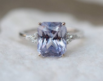 Lavender sapphire ring Engagement ring 14k white gold diamond ring 5.35ct emerald cut dusty lavender sapphire ring Campari  by Eidelprecious