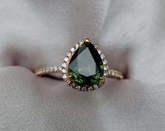 Absinthe Green Sapphire ring. Rose Gold Engagement Ring. Pear cut halo engagement ring 14k rose gold ring by Eidelprecipus.