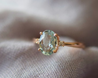 Mint sapphire ring. Rose gold engagement ring. Mint Green Sapphire ring 3 stone ring oval cut Rose gold diamond ring 1.84ct sapphire ring