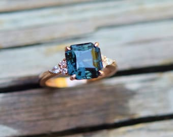 5ct Teal sapphire engagement ring 14k rose gold ring. Asscher cut engagement ring. Square ring. Campari engagement ring by Eidelprecious