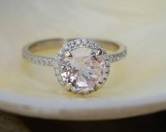 Peach sapphire engagement ring. White gold engagement ring. Diamond halo ring. 1.95ct round peach sapphire ring by Eidelprecious.