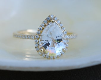 Pear Sapphire ring. 2ct white sapphire diamond ring 14k yellow gold. Engagement ring by Eidelprecious