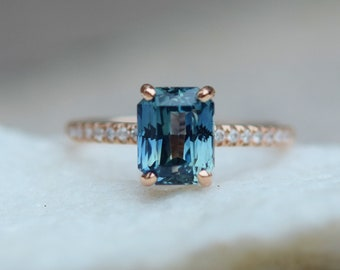 Teal sapphire engagement ring. 2.4ct emerald cut blue green sapphire ring diamond ring 14k Rose gold ring Blake design by Eidelprecious.