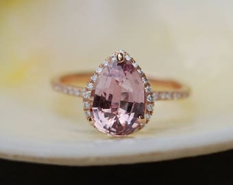 Peach sapphire engagement ring. Rose gold engagement ring 2.44ct pear cut sapphire diamond ring. Engagement ring by Eidelprecious
