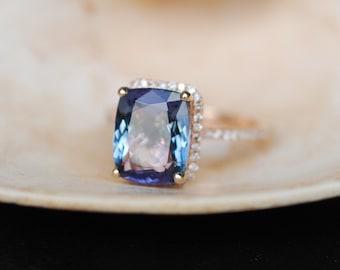 Tanzanite Ring. Rose Gold Engagement Ring 3.63ct Lavender Mint Tanzanite emerald cut halo engagement ring 14k rose gold.