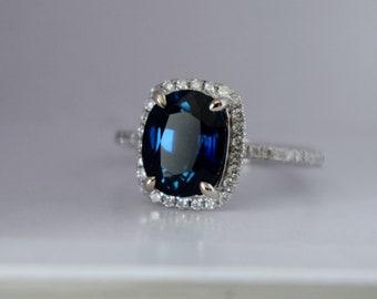 Jet blue sapphire engagement ring. White Gold Engagement Ring 2.7ct Deep Blue Sapphire cushion halo engagement ring 14k white gold.