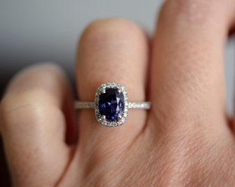 Indigo blue sapphire ring. Blue purple sapphire engagement ring. Oval diamond ring. Halo ring. White gold engagement ring by Eidelprecious