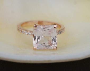 Radiant cut cushion ring Peach Sapphire Engagement Ring square 14k rose gold diamond ring 3.8ct sapphire ring