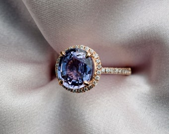 Blueberry sapphire ring. 4ct sapphire engagement ring. Rose Gold Diamond Ring, Violet Blue sapphire ring. Engagement Ring by Eidelprecious